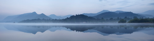 Derwent water reflections panoramic print