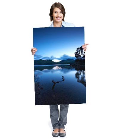 lady holding large format poster art print