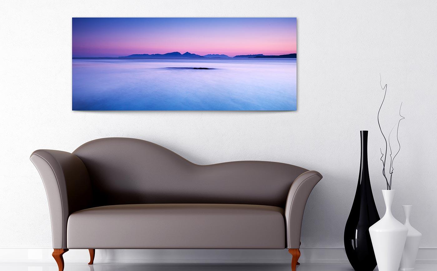 panoramic canvas above sofa