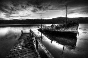 Black & White The Sunken Boat